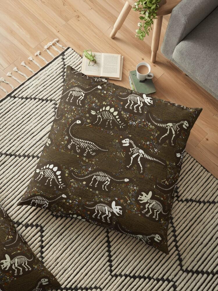 Dinosaur Fossils - cream on brown - Fun graphic pattern by Cecca Designs by Cecca-Designs