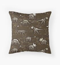 Dinosaur Fossils - cream on brown - Fun graphic pattern by Cecca Designs Floor Pillow