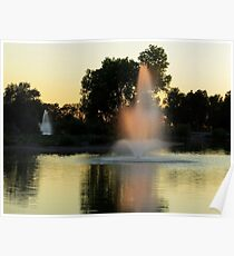 Fountain Catches Last Rays Poster