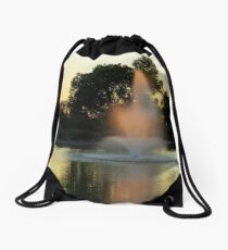 Fountain Catches Last Rays Drawstring Bag