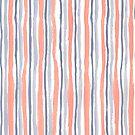 Coral and Blue Happy Painted Stripes  by kellie-jayne