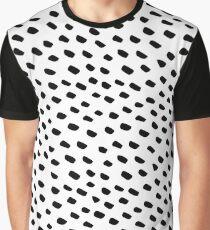 Brush Dot Pattern White Graphic T-Shirt