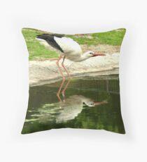 Drinking stork Throw Pillow