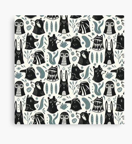 Plants & Animals Pattern Canvas Print