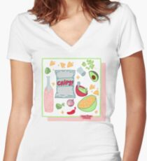 Guac and Kombucha Women's Fitted V-Neck T-Shirt