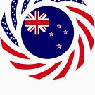 New Zealand American Multinational Patriot Flag by Carbon-Fibre Media