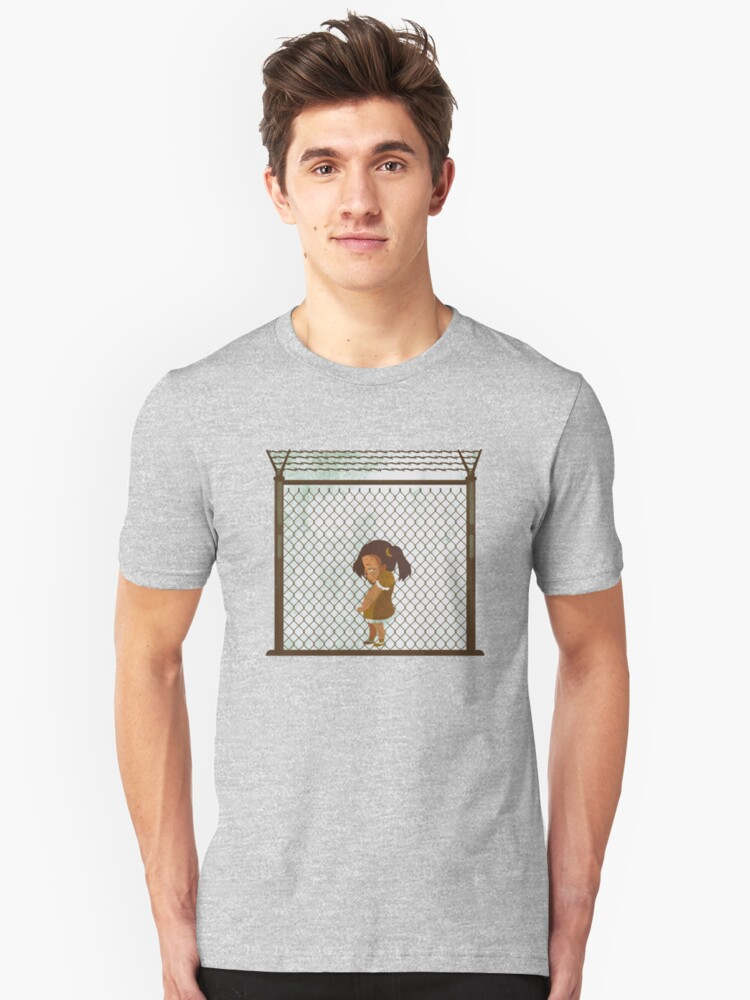 LIttle Girl Torn from Family Alone in Trump Border Prison Camp Unisex T-Shirt Front