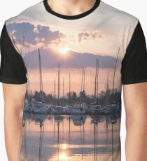 Softly - God Rays and Yachts in Rose Gold and Amethyst Graphic T-Shirt