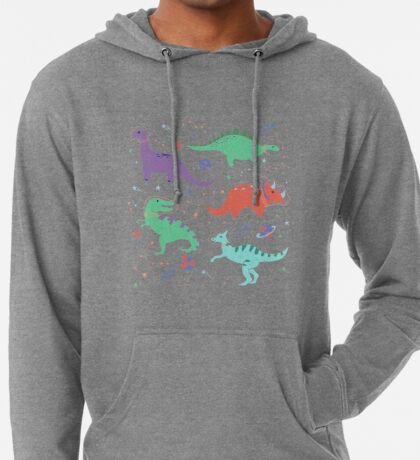 Space Dinosaurs in a Coral Sky Lightweight Hoodie
