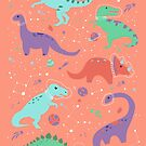 Space Dinosaurs in a Coral Sky by latheandquill