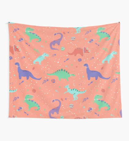 Space Dinosaurs in a Coral Sky Wall Tapestry
