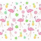 Flamingos - Tropical Pattern by Cristina Bianco Design