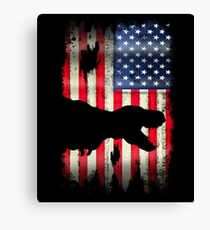 USA American Flag Dinosaur  Canvas Print