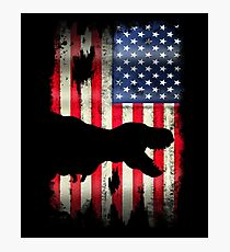 USA American Flag Dinosaur  Photographic Print