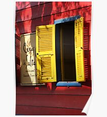 Yellow Shutters against Red Facia Poster