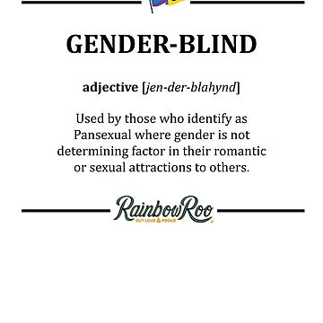 LGBT Pansexual Dictionary Gender Blind Pride by TheRainbowRoo