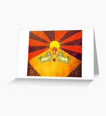 Tibet - golden flag of happiness Greeting Card