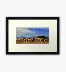 Lámina enmarcada Kilimanjaro y elefantes Tanzania Kenia África