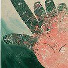 Dos por favor - salmon pink on green by Jennifer Mosher