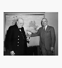 Churchill and Harry Truman on Presidential Yacht Photographic Print