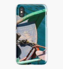 Greece, Island of Crete, Old small fishing boat in pastel blue iPhone Case