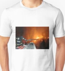 Israel, Haifa Carmel Mountain Forest, A fire engine cannon spraying water on the flames Unisex T-Shirt