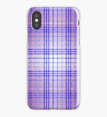 Thin Blue and Purple Speckled Tartan Pattern iPhone Case