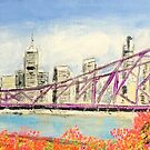 Story Bridge with Bougainvillea by gillsart