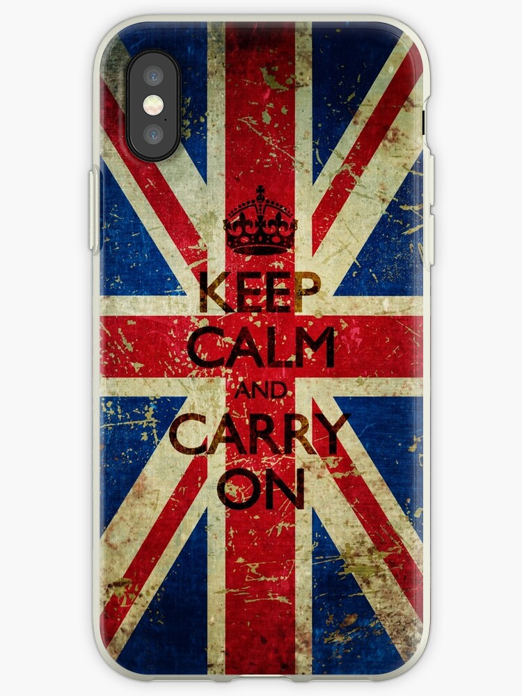 Square Grunge Keep Calm and Carry On Union Jack by itsjensworld