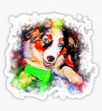 gxp australian shepherd aussie dog puppy splatter watercolor Sticker