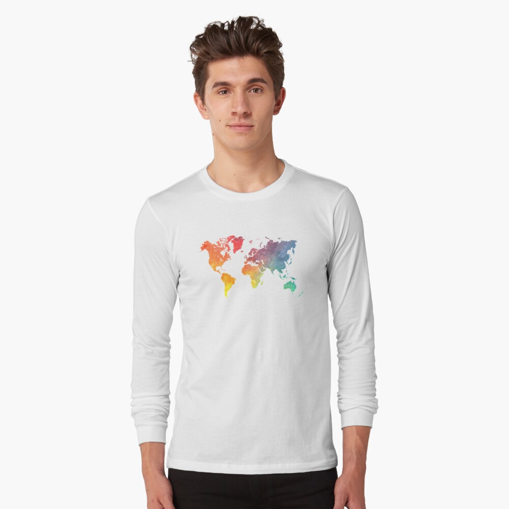 Map of the world colored Long Sleeve T-Shirt