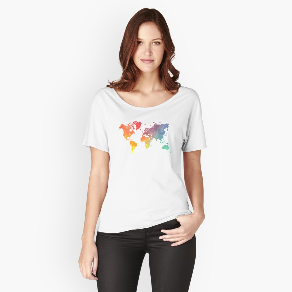 Map of the world colored Relaxed Fit T-Shirt