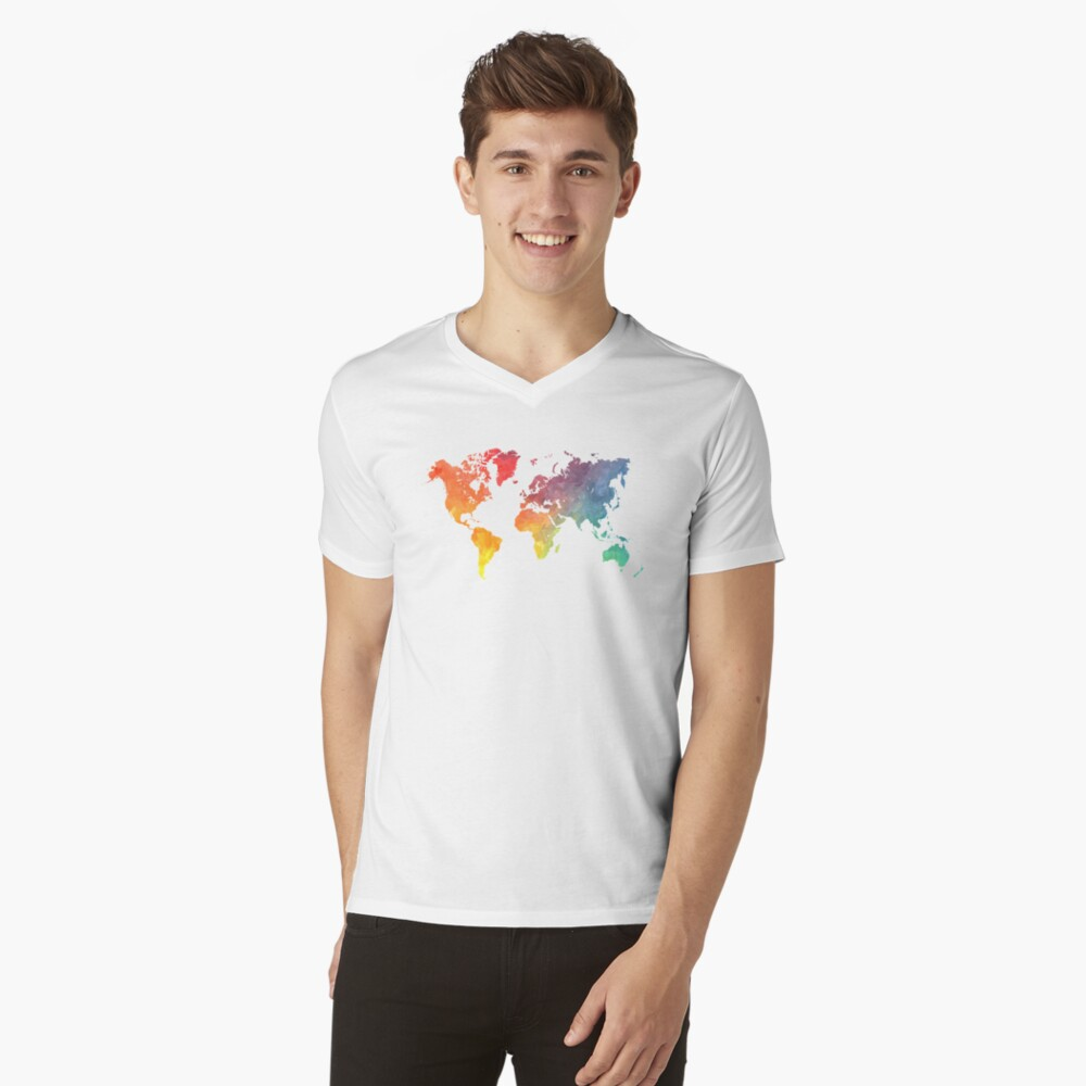 Map of the world colored V-Neck T-Shirt