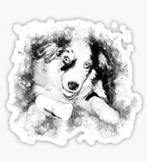 gxp australian shepherd aussie dog puppy splatter watercolor black white Sticker