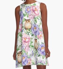 Watercolor hand painted pink lavender brown floral cute owl pattern A-Line Dress