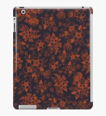 Dark Navy Blue & Orange/Rust Floral Pattern iPad Case/Skin