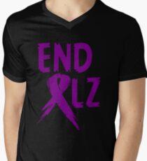 END ALZ Ribbon Alzheimers Awareness Men's V-Neck T-Shirt