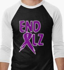 END ALZ Ribbon Alzheimers Awareness Men's Baseball ¾ T-Shirt