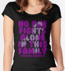 No One Fights Alone in this Family! Alzheimers Awareness Women's Fitted Scoop T-Shirt