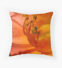 Peach Day Lily Throw Pillow