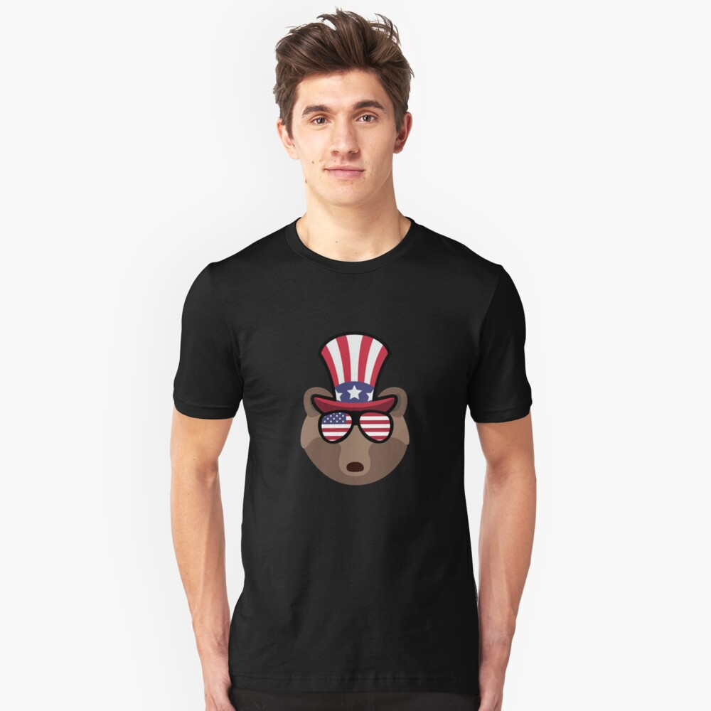 Bear Happy 4th Of July Camiseta ajustada
