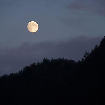 Moon over Hill #nature #minimalism #buyartprints #redbubble by MenegaSabidussi