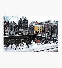 Bikes in the snow at Amsterdam Photographic Print