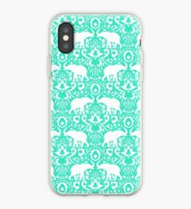 Elephant Damask Mint iPhone-Hülle & Cover