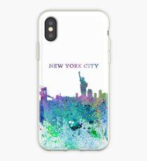 New York City Skyline Silhouette Impressionist Splash - Dream Cities Series iPhone Case