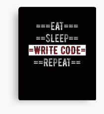 Gift for Coders and Programmers Eat Sleep Write Code Repeat  Canvas Print