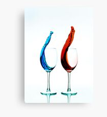 Red Vs. Blue Wine Canvas Print