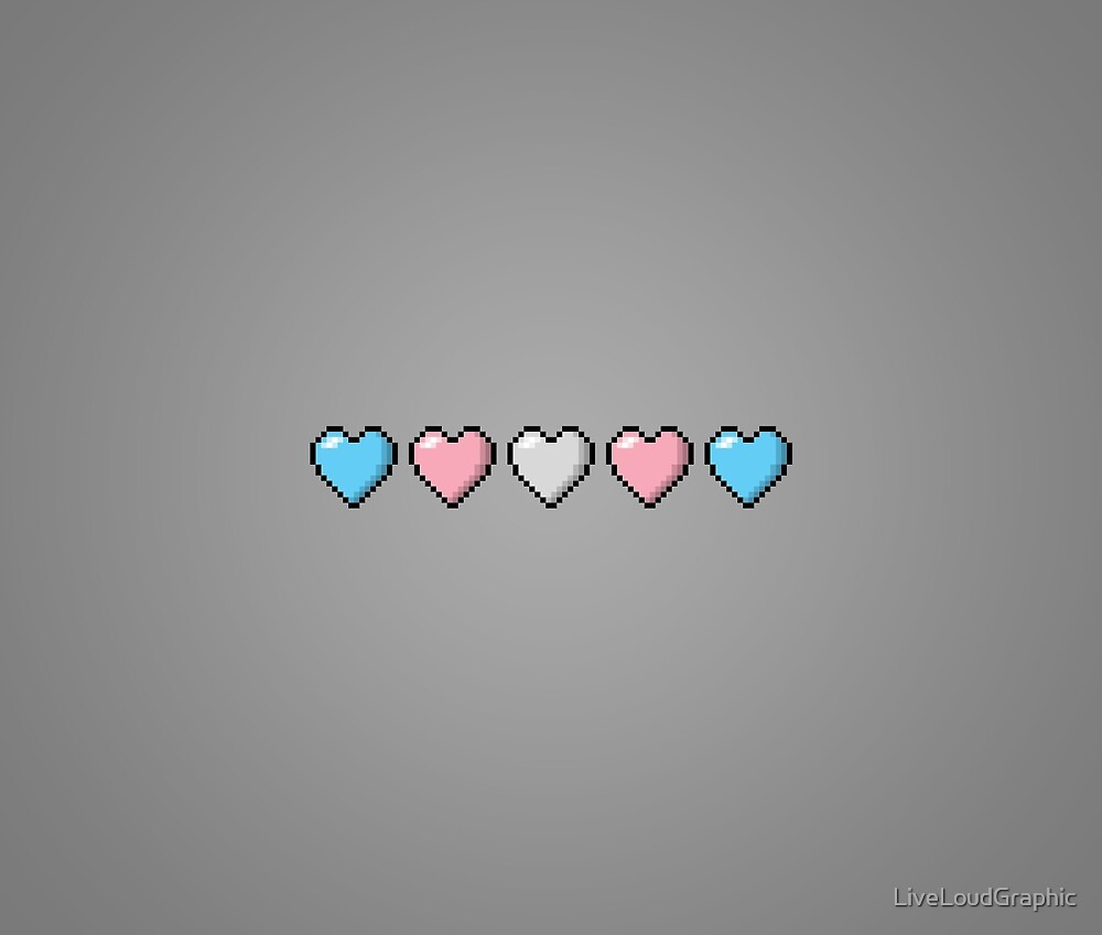 Transgender Pixel Hearts by LiveLoudGraphic