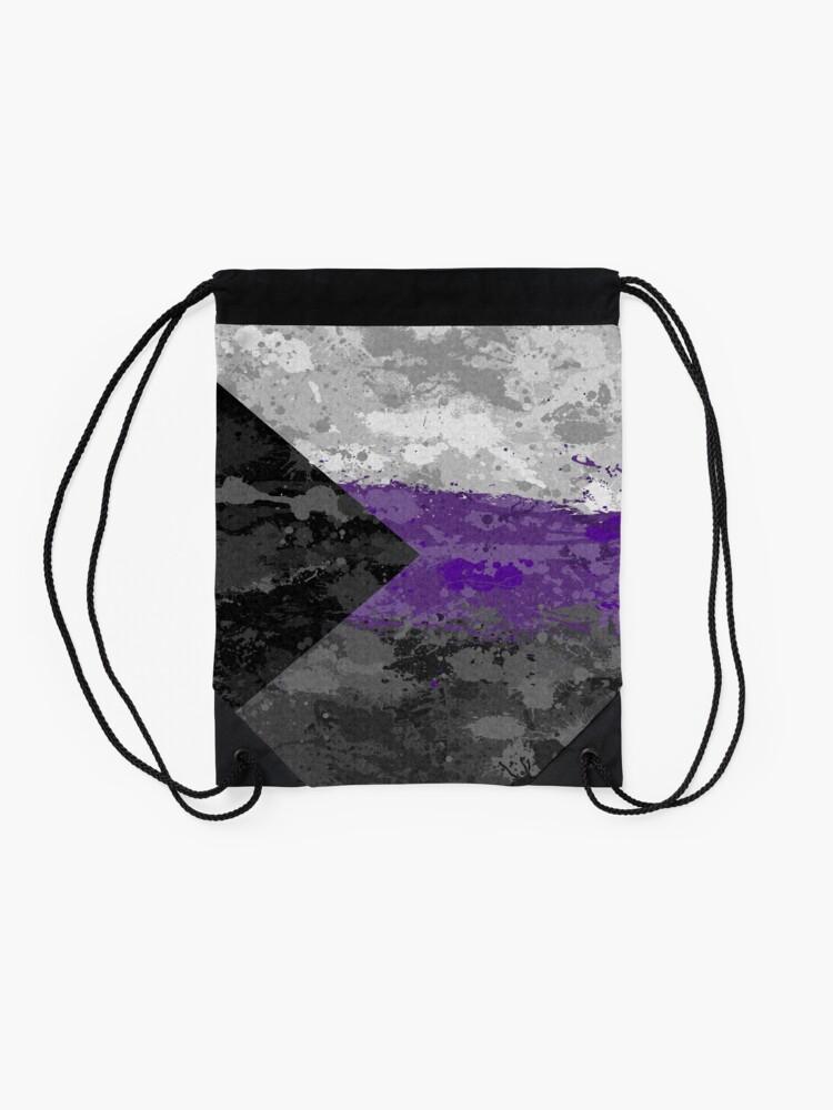 Alternate view of Demisexual Paint Splatter Flag Drawstring Bag