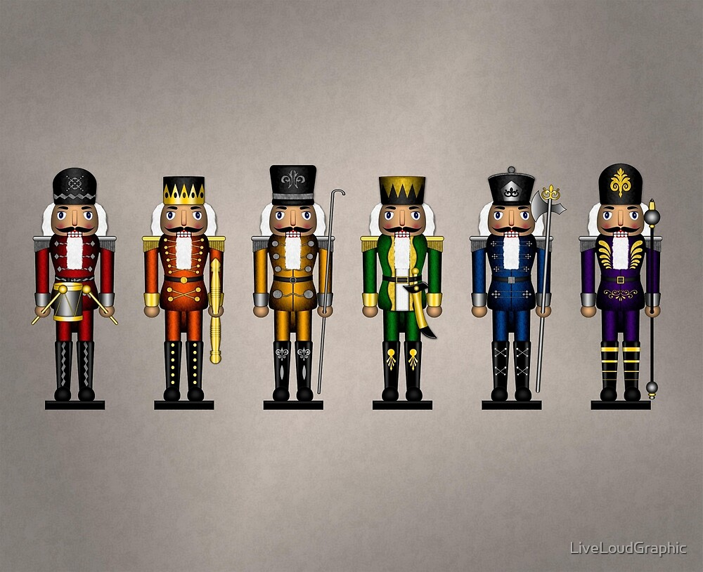 Nutcrackers in Rainbow Colors by LiveLoudGraphic